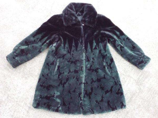 Leder-Pellice Zöld-fekete pihe-puha csinos bunda/kabát 40-es