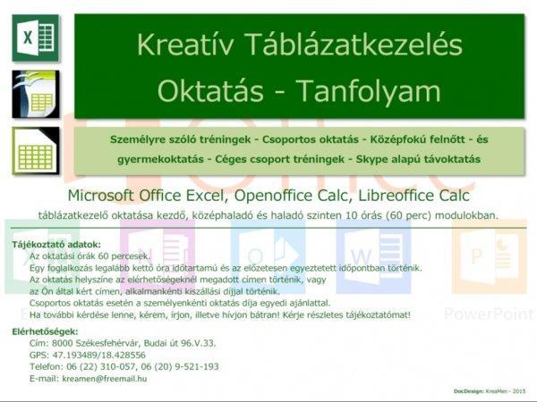 Kreatív Excel Táblázatkezelés Oktatás - Tanfolyam