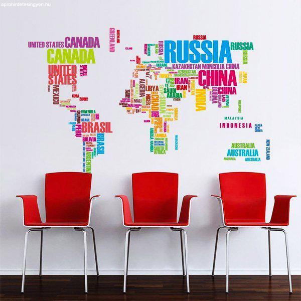 Országok színesben - Térkép falmatrica