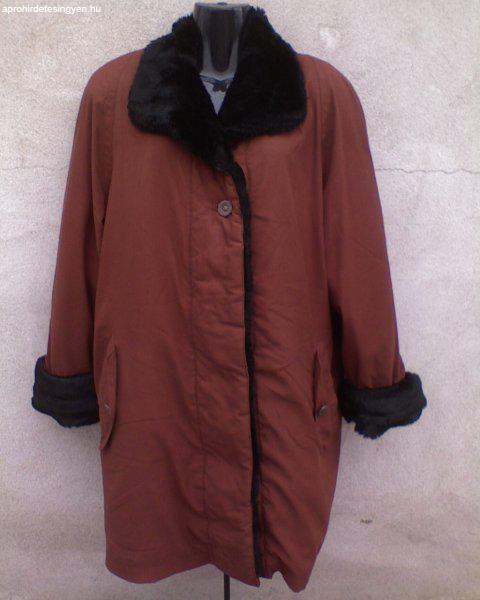 Műszőrmével bélelt meleg téli kabát 42-es