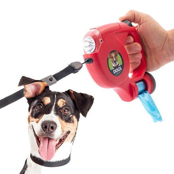 Kutya póráz LED-del és táskákkal 5 m