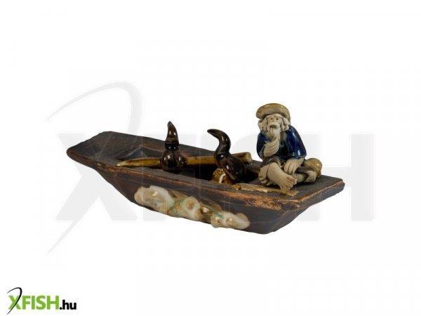 Energofish Kerámia Figura Csónakos Kormoránnal 14x4x6 cm