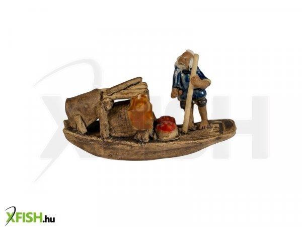Energofish Kerámia Figura Csónakos Kicsi Álló Halász 10x3x6