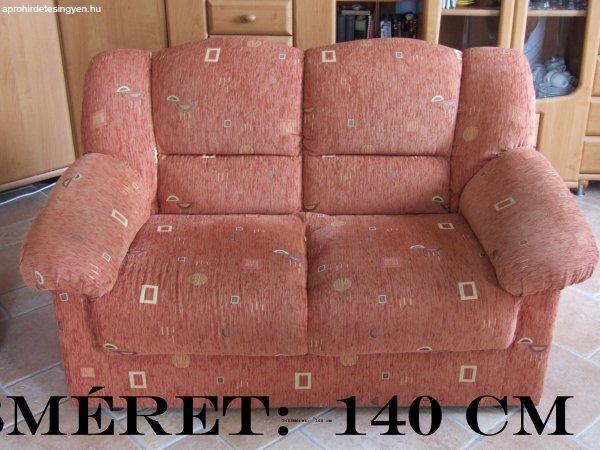 Szövet kanapé,szófa, ülőgarnitúra 2 személyes sárga 135 cm